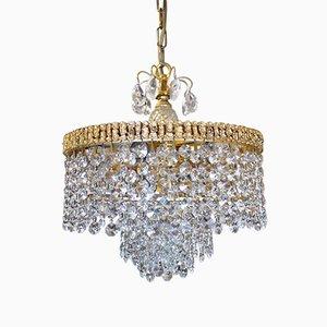 Deutscher Kronleuchter mit vergoldetem Messingrahmen & Behang aus Kristallglas von Christoph Palme für Palwa, 1960er