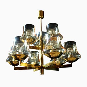 German Gold Chandelier by Kaiser, 1970s
