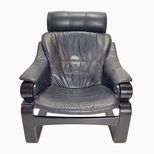 Danish Black Leather Apollo Lounge Chair from Skipper, 1970s