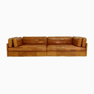 Swiss Cognac Leather Modular Sofas from de Sede, 1970s, Set of 2