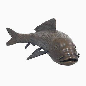 Antike Koi-Fisch Bronzeskulptur von Pierre-Jules Mené