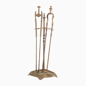 Antique Italian Gilded Metal Fireplace Set