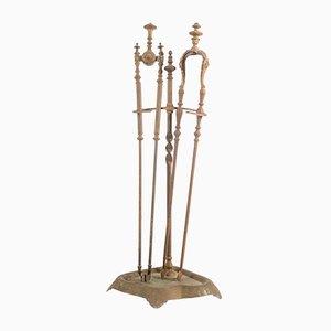 Goldenes antikes italienisches Kaminset aus Metall