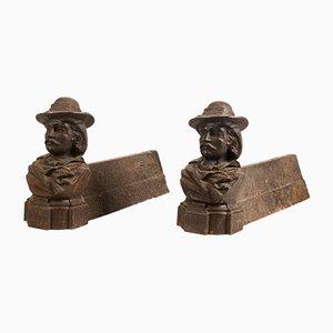Antike französische Andironen aus Gusseisen, 2er Set