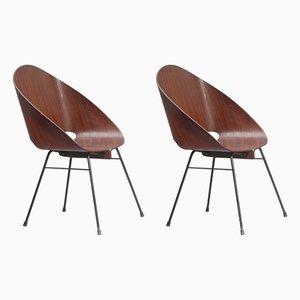 Armlehnstühle aus Sperrholz von Vittorio Nobili, 1950er, 2er Set