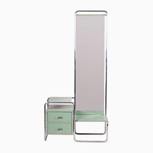 Specchio Bauhaus vintage verde con cassetti di Mücke Melder, anni '30