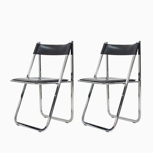Italian Tamara Black Leather and Chrome Folding Chairs from Arrben, 1974, Set of 2