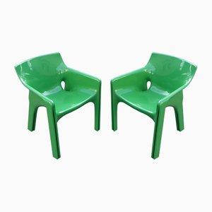 Vintage Gaudi Esszimmerstühle in Grün von Vico Magistretti für Artemide, 1970er, 2er Set