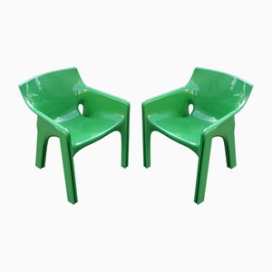 Vintage Green Gaudi Dining Chairs by Vico Magistretti for Artemide, 1970s, Set of 2