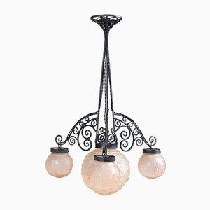 Lámpara de techo francesa Art Déco de Muller Frères, años 30