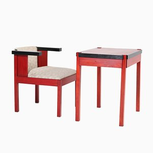 Lacquered School Writing Table and Armchair Set by Frits Spanjaard, 1920s