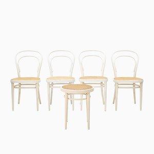 Modell 214 Stühle aus Bugholz mit Sitzgeflecht von Thonet, 1960er, 5er Set