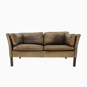Sofá danés de cuero biplaza, años 60