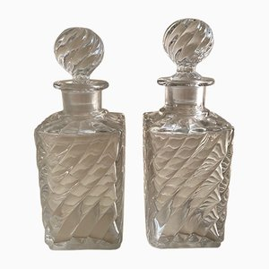 Antique Crystal Swirl Perfume Bottles from Baccarat, Set of 2