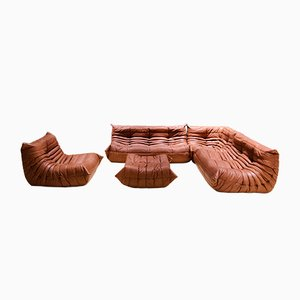 Leather Living Room Set by Michel Ducaroy for Ligne Roset, 1970s