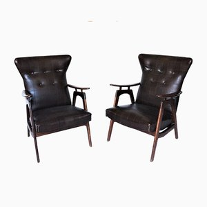 Dutch Wingback Armchairs by Louis van Teeffelen for WéBé, 1960s, Set of 2