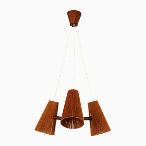 Mid-Century Danish Teak and Sisal Ceiling Lamp from Temde