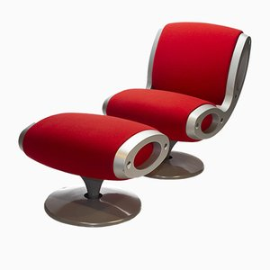 Swivel Chair and Ottoman by Marc Newson for Moroso, 1993, Set of 2