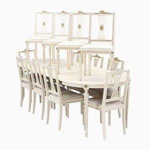 Antike gustavianische Speisezimmergarnitur aus Esstisch & Stühlen