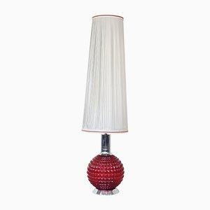 Red Velvet Boudoir Floor Lamp, 1970s