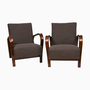 Czech Model HF11 Armchairs by Jindřich Halabala for Interier Praha, 1950s, Set of 2