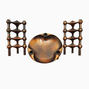 Modulare Kerzenständer aus Kupfer von Johannes Nagel, 1960er, 9er Set