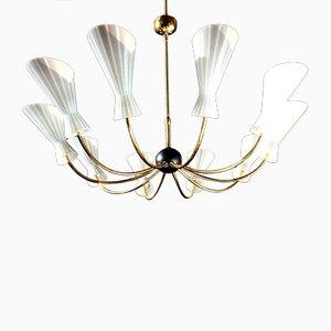 Lámpara de techo italiana de 10 luces de Stilnovo, años 50