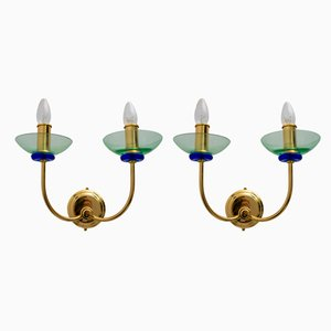 Italian Brass and Murano Glass Sconces from Vetri, 1980s, Set of 2