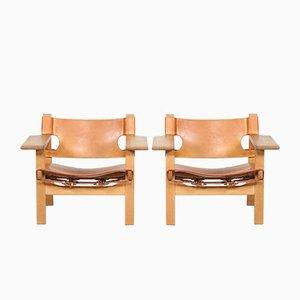 Dänische Modell 2226 Sessel aus Leder & Eiche von Børge Mogensen für Fredericia, 1970er, 2er Set