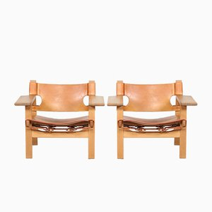 Danish Model 2226 Leather and Oak Lounge Chairs by Børge Mogensen for Fredericia, 1970s, Set of 2