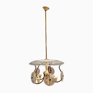 Deckenlampe aus geätztem Glas, Bronze & Metall von Pietro Chiesa, 1950er