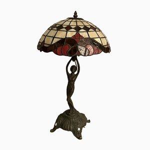 Lámpara de mesa de bronce y resina, años 40