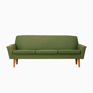 Danish Green Wool and Teak Sofa, 1960s