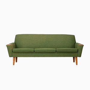 Sofá danés de lana verde y teca, años 60