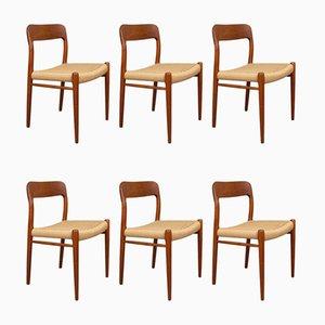 Dänische Modell 75 Esszimmerstühle mit Gestell aus Teak & Sitz aus Papierkordelgeflecht von Niels Otto Møller für J. L. Møllers, 1960er, 6er Set