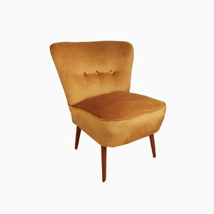 Mid-Century Scandinavian Gold Velvet Lounge Chair, 1960s