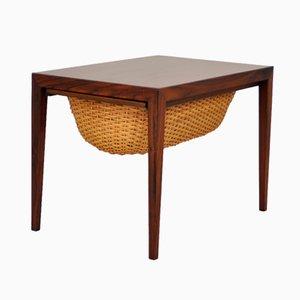 Tavolo da cucito in palissandro di Severin Hansen per Haslev Møbelsnedkeri, anni '60