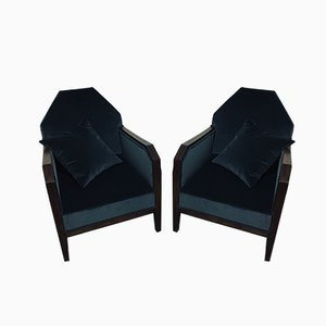 Art Deco Lounge Chairs, 1920s, Set of 2