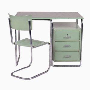 Grüner Vintage Bauhaus Schreibtisch von Mücke Melder, 1930er