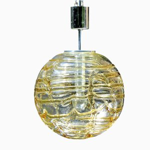German Glass Ceiling Lamp, 1970s