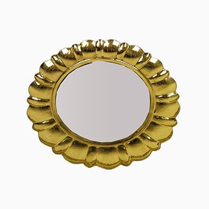 Mid-Century Swedish Brass Mirror by Lars Holmström