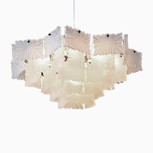 Frosted Crystal Glass Ceiling Lamp from Kalmar, 1950s