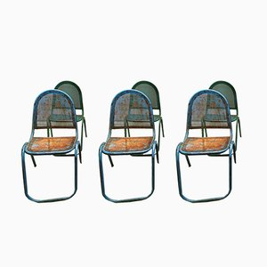 Vintage Industrial Green and Blue Stacking Chairs, Set of 6