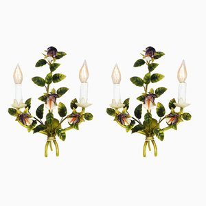 Italian Tôle Flower Sconces, 1950s, Set of 2