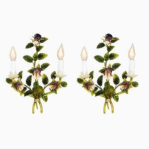Italian Tôle Flower Sconces, 1950s, Set of 2