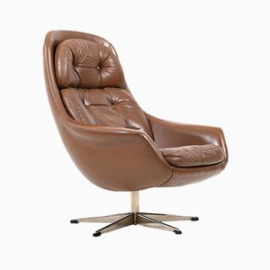 Mid-Century Danish Brown Leather Swivel Lounge Chair, 1960s