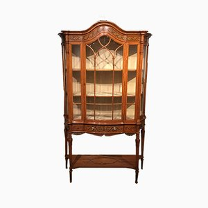 Antique Edwardian Satinwood Display Cabinet
