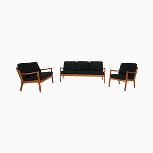 Mid-Century Danish Teak Senator Sofas and Armchair Set by Ole Wanscher for PJ Jeppesen