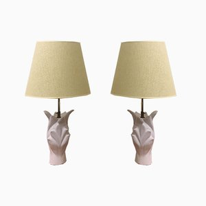 French White Ceramic Table Lamps, 1970s, Set of 2