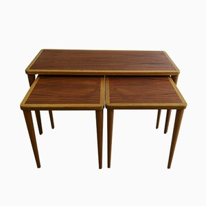 Mid-Century Swedish Teak and Oak Nesting Tables by Yngve Ekström, 1960s